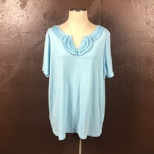 Light Blue 1x Ruffle breasted t-shirt